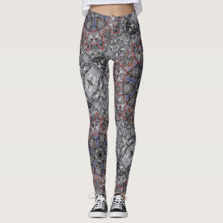 "Sacred Geometry Leggings ""Cats"" By MAR"