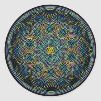 Sacred Geometry Mandala: Sincerity - Hand Drawn Classic Round Sticker