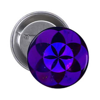 Sacred Geometry Seed of Life Pattern Space Scenery 2 Inch Round Button