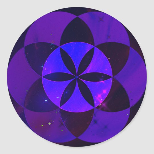 Sacred Geometry Seed of Life Pattern Space Scenery Classic Round Sticker
