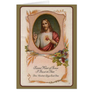 Sacred Heart Catholic Mass Memorial Offering Card