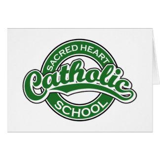Sacred Heart Catholic School Green Greeting Card