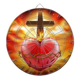 Sacred Heart Christian Illustration Dartboard