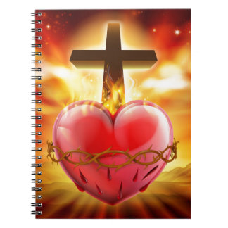 Sacred Heart Christian Illustration Notebook