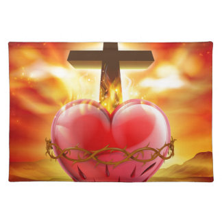Sacred Heart Christian Illustration Placemat