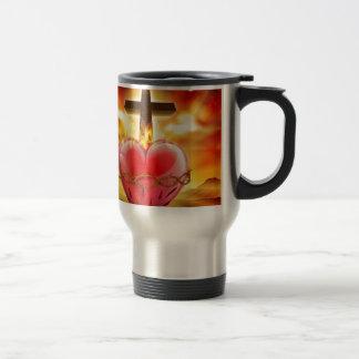 Sacred Heart Christian Illustration Travel Mug