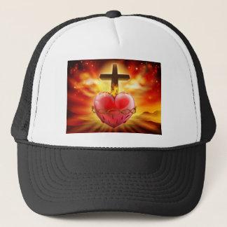Sacred Heart Christian Illustration Trucker Hat