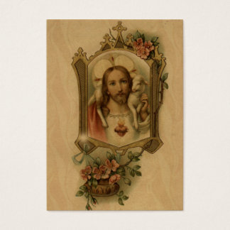 Sacred Heart Jesus with lamb floral cross Vintage Business Card