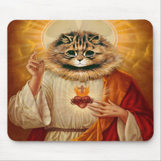 Sacred Heart Kitty Mousepad