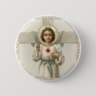 Sacred Heart of Child Jesus with Cross 2 Inch Round Button