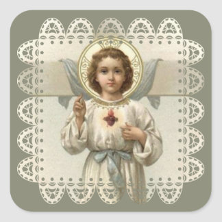 Sacred Heart of Child Jesus with Cross Square Sticker