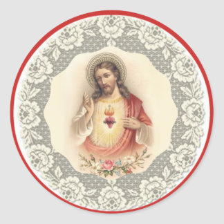 Sacred Heart of Jesus Blessing Lace Classic Round Sticker