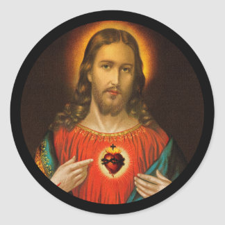 Sacred Heart of Jesus c1899 Germany Round Sticker