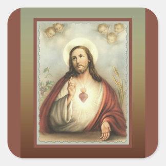 Sacred Heart of Jesus Cherub Angels Square Sticker