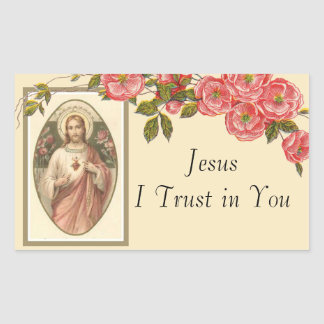 Sacred Heart of Jesus Floral Border Sticker
