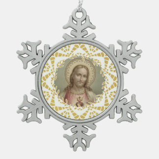 Sacred Heart of Jesus Gold Border Snowflake Pewter Christmas Ornament