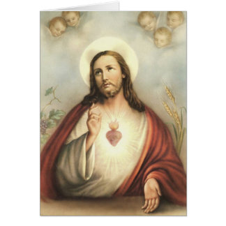 Sacred Heart of Jesus Heart with Cherubs Card