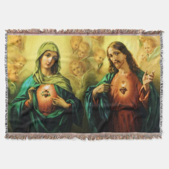 Sacred Heart of Jesus & Immaculate Mary Blanket Throw