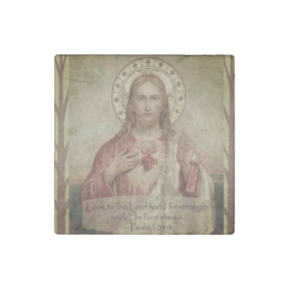 Sacred Heart of Jesus Scripture Quote Stone Magnets