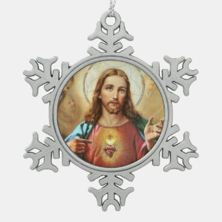 Sacred Heart of Jesus Snowflake Pewter Christmas Ornament