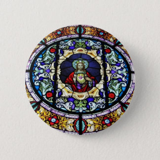 Sacred Heart of Jesus Stained Glass Window 2 Inch Round Button