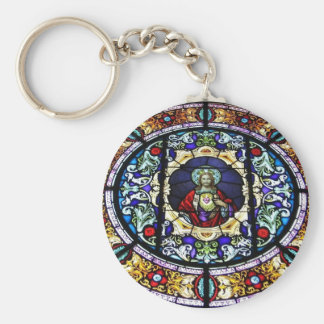 Sacred Heart of Jesus Stained Glass Window Keychain