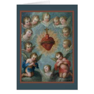 Sacred Heart of Jesus Thorns Angels Card