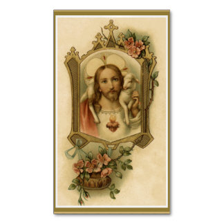 Sacred Heart of Jesus w/lamb & flowers Magnetic Business Card