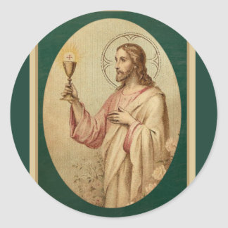 Sacred Heart of Jesus with Chalice & Eucharist Classic Round Sticker