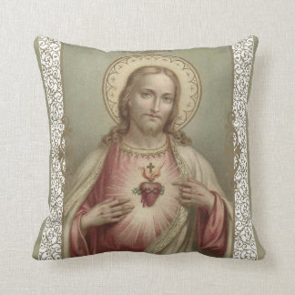 Sacred Heart of Jesus with decorative border Throw Pillow