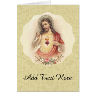 Sacred Heart of Jesus with floral swag Card