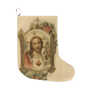 Sacred Heart of Jesus with Lamb Large Christmas Stocking