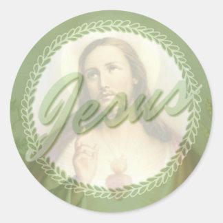 Sacred Heart of Jesus Wreath Border Classic Round Sticker