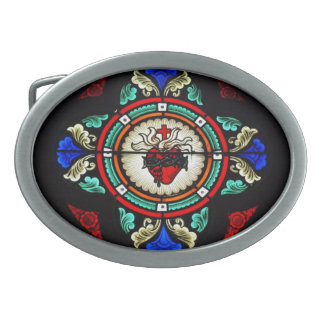 Sacred Heart (stained glass) Buckle Oval Belt Buckle
