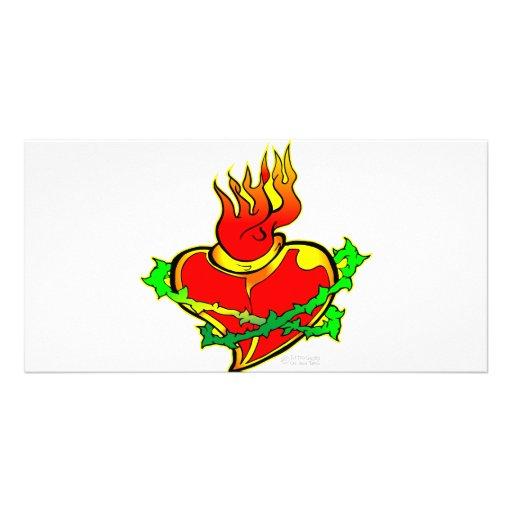 Sacred Heart Tattoo Photo Card Template
