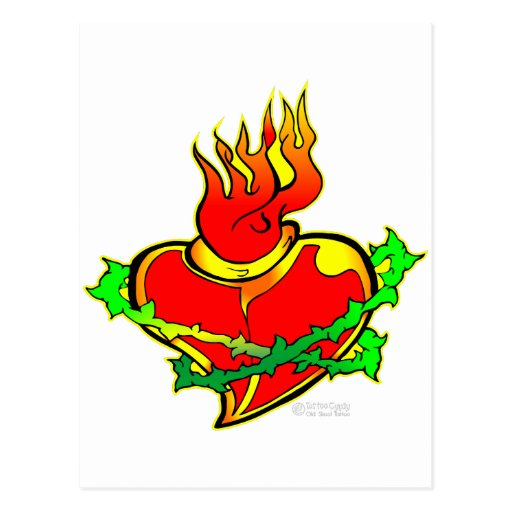 Sacred Heart Tattoo Post Card
