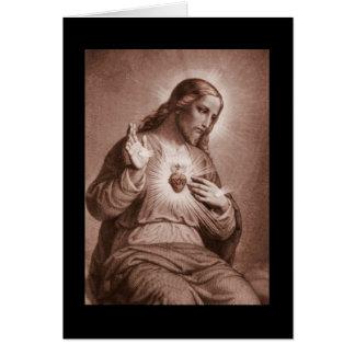 Sacred Heart with Cross Card