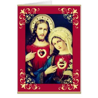 Sacred Immaculate Hearts Jesus Mary Prayer Card
