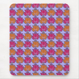 Sacred Indian lotus flower pattern, orange fuchsia Mouse Pad