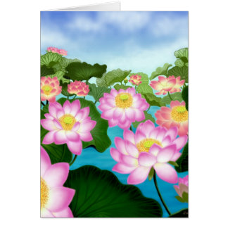 Sacred Lotus Flowers Card