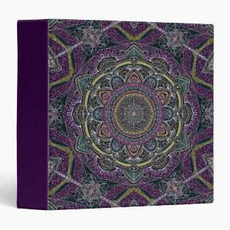 Sacred mandala stars and lace purple and black 3 ring binder