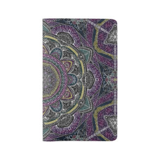Sacred mandala stars and lace purple and black large moleskine notebook