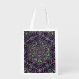 Sacred mandala stars and lace purple and black reusable grocery bag