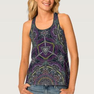 Sacred mandala stars and lace purple and black tank top