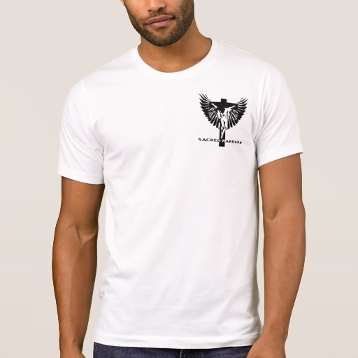 Sacred Warrior crucifix and wings logo T Shirt