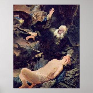 Sacrifice of Isaac by Rembrandt van Rijn Poster