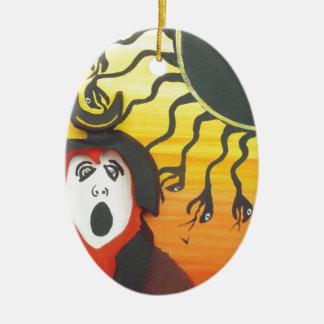 Sacrifice to the Solar Snake God Ceramic Ornament