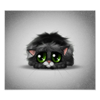 Sad and lonely little kitten with huge green eyes poster