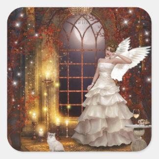 Sad Angel With Kitty Square Sticker