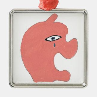 Sad Apple Silver-Colored Square Ornament